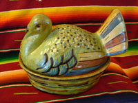 Mexican vintage pottery, turkey casserole with lid, Tlaquepaque c. 1930