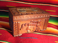Mexican vintage wood-carving and Mexican vintage folk art, a wooden box beautifully carved with Mayan faces and designs, c. 1930-40. The top of the box bears a silver plaque with wonderful Mayan symbols or faces. Main photo.
