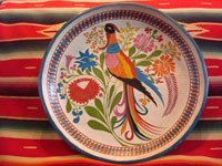 Mexican vintage wood-carving and laquer-ware art, a wonderful batella from Uruapan, Michoacan, c. 1930's. The large batella is decorated with an exquisite exotic bird with a lovely long tail, perhaps the famed quetzal. Main photo of the batella.