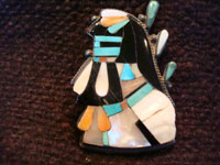 Native American Indian vintage silver jewelry, a Zuni broach with inlay, c. 1940. Another closeup photo.