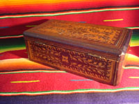 Mexican vintage wood-carving, a marquetry box with beautiful inlaid wood designs from Oaxaca, c. 1890. Another view of the box.