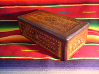 Mexican vintage wood-carving, a marquetry box with beautiful inlaid wood designs from Oaxaca, c. 1890. Another side view of the box.