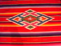 Mexican vintage sarapes and textiles, a beautiful Saltillo sarape, c. 1940. Closeup of center medallion.