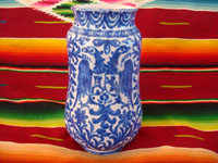Mexican vintage pottery and ceramics, a Talavera vase from Puebla, c. 1940. Beautiful blue designs of the double-headed Hapsburg eagle, a wonderful plant with a flower, and a beautiful pomegranate (granada). Main photo.