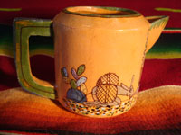 Mexican vintage pottery and ceramics, a teapot and creamer set from Tlaquepaque, c. 1930-40. Another view of tea-pot.