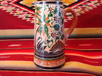 Mexican vintage pottery and ceramics. a lovely petatillo pitcher with a handle and very fine hand-painted decoration, Tlaquepaque, Jalisco, c. 1940's. Main photo of the petatillo pitcher from Tlaquepaque, Jalisco.