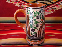 Mexican vintage pottery and ceramics. a lovely petatillo pitcher with a handle and very fine hand-painted decoration, Tlaquepaque, Jalisco, c. 1940's. Photo of the second side of the Tlaquepaque pitcher.