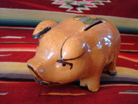 Mexican vintage pottery and ceramics and Mexican vintage folk art, a pottery piggy bank with lovely artwork on its back, from Tlaquepaque, Jalisco, c. 1930's. This is a great piece of Mexican vintage folk art and a collector's dream. Another angle of the bank.