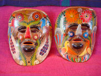 Mexican vintage pottery, and Mexican vintage folk-art, a pair of wonderful pottery masks from Amayaltepec, Guerrero, c. 1950's. Main photo of the masks.