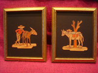 Mexican vintage straw-art (popote art or popotillo), and Mexican vintage folk-art, a pair of straw-art pictures, each composed of hundreds of minute pieces of dyed straw, and depicting two Mexican campesinos with their loyal burros, c. 1940's. Main photo.