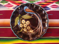Mexican vintage pottery and ceramics, a lovely black-ware plate with a beautiful bird (a quetzal?) and fantastic flowers, Tlaquepaque or Tonala, Jalisco, c. 1920-30's.  Main photo of the Tlaquepaque plate.
