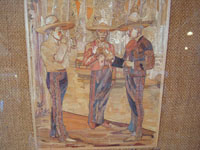 Mexican vintage straw-art (popote art or popotillo), a wonderful straw-art picture of three Mexican charros taking a smoking break, c. 1930's. The popote art is extremely fine and intricate. Closeup photo of the straw-art scene of three charros smoking.