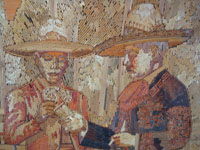 Mexican vintage straw-art (popote art or popotillo), a wonderful straw-art picture of three Mexican charros taking a smoking break, c. 1930's. The popote art is extremely fine and intricate. Closeup photo of the faces of two of the charros.