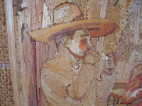 Mexican vintage straw-art (popote art or popotillo), a wonderful straw-art picture of three Mexican charros taking a smoking break, c. 1930's. The popote art is extremely fine and intricate. Closeup photo of the face of the third charro.