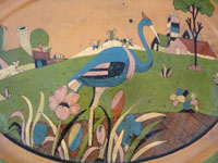 Mexican vintage pottery and ceramics, a pottery oval charger with very fine and detailed artwork, Tonala or Tlaquepaque, Jalisco, c. 1930's.  Closeup photo of the scene on the front of the oval platter.