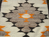 Native American Indian vintage textiles, and Navajo vintage textiles and rugs, a lovely Navajo woolen runner or double saddle blanket with beautiful designs, Arizona or New Mexico c. 1920-30's.  Closeup photo of one of the designs of the Navajo rug.