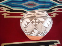 Native American Indian vintage and antique pottery and ceramics, a lovely Acoma pot with wonderful geometric design elements, Acoma Pueblo, New Mexico, c. 1940. Another side view of the Acoma pot.