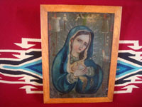 Mexican vintage devotional art, and Mexican vintage tinwork art, a lovely retablo painted on tin, depicting the Dolorosa (Sorrowful Mother), c. 1930. Main photo of the retablo.