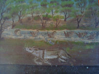 Mexican devotional art, and Mexican vintage folk art, a beautiful exvoto thanking Our Lady for saving a man's precious burros from drowning in a raging river, c. 1900. Closeup photo of the burros in the river.