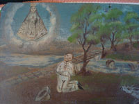 Mexican devotional art, and Mexican vintage folk art, a beautiful exvoto thanking Our Lady for saving a man's precious burros from drowning in a raging river, c. 1900. Closeup photo of the campesino praying to the Blessed Virgen.