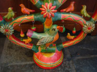 Mexican vintage folk art, and Mexican vintage pottery and ceramics, a beautiful and very colorful tree-of-life, with beautiful decorations and a wonderful bird near the base, Izucar de Matamoros, Puebla, c. 1940's.  Closeup photo of the bird nea the base.