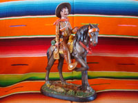 Mexican vintage folk art, and Mexican vintage pottery and ceramics, a pottery sculpture depicting a Mexican revolutionary, perhaps Emiliano Zapata or Pancho Villa, riding a beautiful horse, attributerd to the great Panduro family of sculptors, San Pedro Tlaquepaque, c. 1930's. Main photo of the horse and rider.
