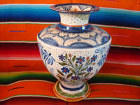 Mexican vintage pottery and ceramics, a spectacular pottery vase or urn with a cream-colored background, fantastic artwork, and covered with tiny stars, Tonala or San Pedro Tlaquepaque, c. 1920-30's.  Main photo of one side of the vase.