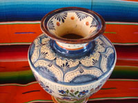 Mexican vintage pottery and ceramics, a spectacular pottery vase or urn with a cream-colored background, fantastic artwork, and covered with tiny stars, Tonala or San Pedro Tlaquepaque, c. 1920-30's.  Photo shot from above, looking down at the mouth of the vase.
