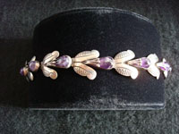 Mexican vintage silver jewelry, Taxco sterling silver bracelet with amethyst in a foral design, c. 1930's.