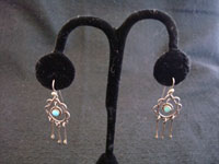 Native American Indian silver jewelry, vintage Navajo sterling silver earrings with turquoise balls and silver dangles, c. 1940.