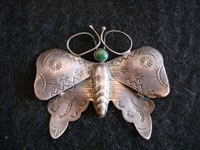 Native American Indian vintage silver jewelry, Navajo butterfly pin, c. 1940's.