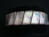 Mexican vintage silver jewelry, Taxco sterling silver bracelet inlaid with abolone shell, c. 1940's.