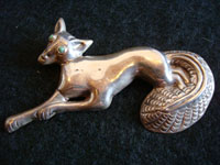 Mexican vintage silver jewelry, Taxco pin depicting fox, c. 1940's.
