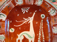 Mexican vintage pottery and ceramics, a lovely oval dish, bandera-ware (the colors of the Mexican flag or bandera), decorated with a graceful deer and cypress tree, Tlaquepaque, c. 1930-40's. Another closeup photo of the deer.