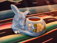 Mexican vintage pottery and ceramics, a bowl in the shape of a wonderful blue fawn, Tlaquepaque, Jalisco, c. 1930. The fawn is beautifully decorated and is highly endearing. Main photo of deer-shaped bowl.