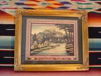 Mexican vintage straw-art (popote art or popotillo), a wonderful straw-art scene, created using thousands of minute pieces of dyed straw (popote, in Spanish) of a lake with a majestic volcano in the background, c. 1930-40's. Main photo of the straw-art picture with frame and mat.