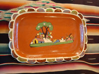Mexican vintage pottery and ceramics, a beautiful rectangular dish with an earthen-colored (reddish) glaze background and a wonderful rural scene, Tlaquepaque, Jalisco, c. 1940's. Main photo of the dish.