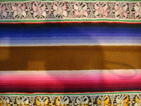 Mexican vintage textiles and sarapes, a spectacular Saltillo sarape with bands of tela deshilada (threads are removed and lovely flowers are then created with the remaining threads), c. 1920-40. This is an extremely rare and beautiful Mexican textile.  Another photo showing some of the band patterns of the sarape.