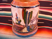 Mexican vintage pottery and ceramics, a set of four mugs with petatillo backgrounds and wonderful artwork, attributed to the famous artist, Balbino Lucano, Tlaquepaque, Jalisco, c. 1930. Photo showing another side of one mug.