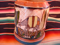 Mexican vintage pottery and ceramics, a set of four mugs with petatillo backgrounds and wonderful artwork, attributed to the famous artist, Balbino Lucano, Tlaquepaque, Jalisco, c. 1930. Photo showing the burro on another side of one mug.