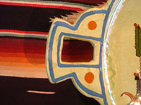 Mexican vintage pottery and ceramics, a spectacular oval tray or charger with handles, a wonderful pale-green background glaze, and very fine artwork, Tlaquepaque, Jalisco, c. 1930's. Closeup photo of one handle of the tray.