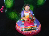 Mexican vintage pottery and ceramics, and Mexican vintage folk-art, a wonderful pair of trees-of-like, signed by the late, famous folk-artist, Alfonso Castillo, of Izucar de Matamoros, Puebla, c. 1990's. Closeup photo of the maiden near the base of one tree.