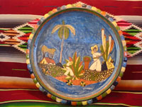Mexican vintage pottery and ceramics, a lovely charger with a blue background and very fine artwork, Tlaquepaque or Tonala, Jalisco, c. 1930's. Main photo.