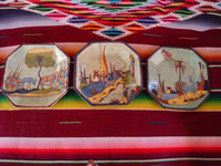 Mexican vintage pottery and ceramics, a lovely set of three hexagonal plates with a beautiful pale-green background and very fine artwork, Tlaquepaque or Tonala, Jalisco, c. 1930's. Main photo of the set of plates.