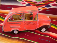 Mexican vintage folk-art, and Mexican vintage pottery and ceramics, a beautiful pottery city bus filled with happy passengers, signed on the side of the bus by the famous, late folk-artist, Candelario Medrano of Santa Cruz de las Huertas, Jalisco, c. 1960's. Main photo of the city bus.