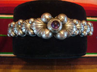 Mexican vintage silver jewelry, and Taxco vintage sterling silver jewelry, a lovely silver bracelet with a beautiful amethyst cabochon, Taxco, c. 1930-40's. Another view of the vintage Taxco silver jewelry bracelet.