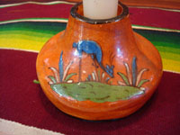 Mexican vintage pottery and ceramics, a beautiful pair of candleholders, Tonala or Tlaquepaque, Jalisco, c. 1930's. Closeup photo of the second Tlaquepaque candleholder.