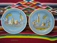 Mexican vintage pottery and ceramics, a beautiful pair of blue-ware plates with fine artwork, Tlaquepaque or Tonala, Jalisco, c. 1930's. Main photo of the two Tonala or Tlaquepaque pottery plates.