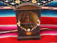 Mexican vintage devotional art, a lovely wooden nicho containing a beautiful statue of Our Lady of Good Health (Nuestra Senora de la Salud), patroness of the Basilica in Patzcuaro, Michoacan. Main photo.