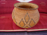 Native American Indian antique baskets, a very beautiful and rare polychrome Chemehuevi olla, Parker, Arizona area, c. 1915-20.  Main photo of the Chemehuevi Indian basket.